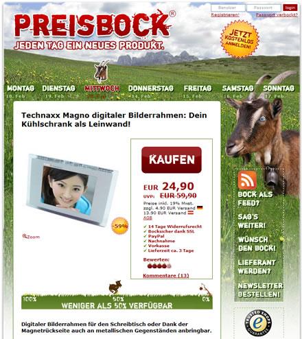 Liveshopping-Portal preisbock.de